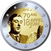 French Commemorative Coin 2010  de Gaulle French Resistance