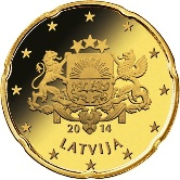 Latvian 20 cent coin