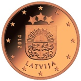 Latvian 2 cent coin