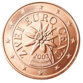 Austrian 2 cent coin