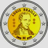 Belgian Commemorative Coin 2009 - Braille