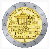 Vatican Commemorative Coin 2014 - 25 Years Fall of Berlin Wall
