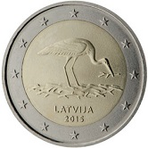 Latvian Commemorative Coin 2015 - Black Stork Protection Programme
