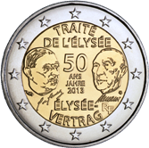 French Commemorative Coin 2013 - Treaty of Élysèe joint issue