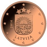Latvian 1 cent coin