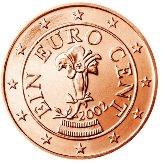 Austrian 1 cent coin