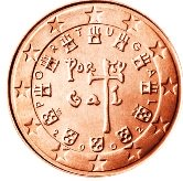 Portuguese 1 cent coin